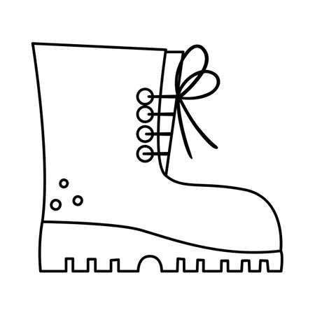 Vector black and white tourist boot illustration. Line hiking shoe icon with laces. Camping foot wear isolated on white background. Outline clothes for active outdoor holidays and tourism. Illustration