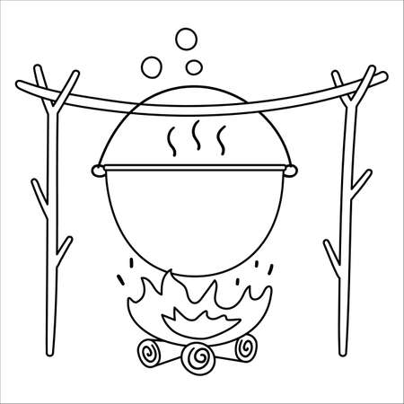 Vector black and white boiler hanging on tree twigs above the fire. Campfire pot outline illustration isolated on white background. Autumn or Summer season bonfire line icon. Funny hearth symbol.