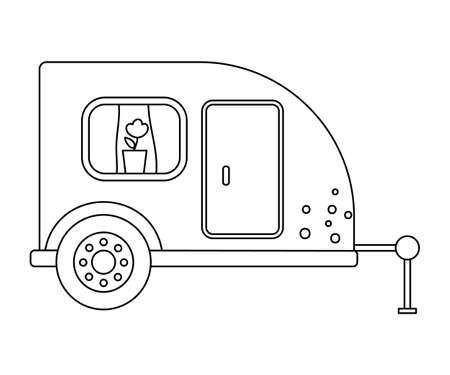 Vector black and white tourist trailer with door and window. Cute outline camper van isolated on white background. Camping carrier car line illustration. Journey vehicle concept. Mobile home icon