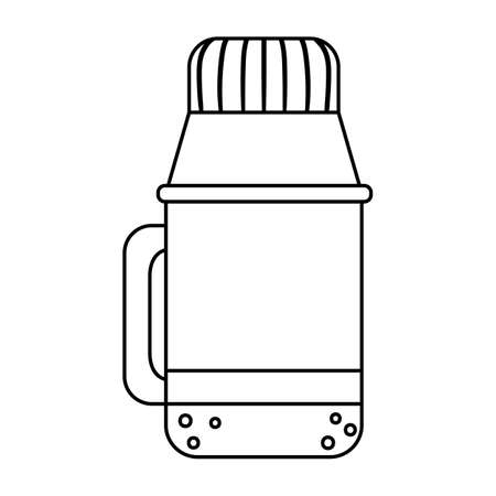 Vector black and white thermos bottle isolated on white background. Winter or camping traditional warming drink outline illustration. Hiking hot beverage or tea flask line icon.