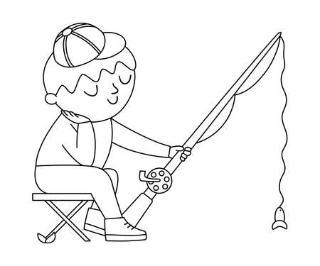 Vector black and white boy sitting on a folding chair and fishing. Outline campfire activity scene with cute kid and rod. Traveler isolated on white background. Summer camp tourist icon.