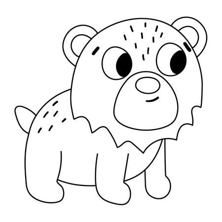 Vector black and white bear. Funny woodland animal line icon. Cute forest outline illustration for kids isolated on white background.