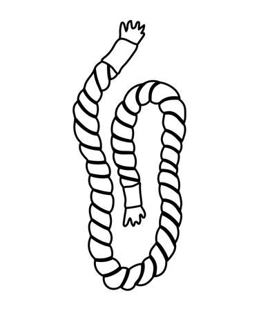 Vector black and white rope icon isolated on white background. Tightrope line illustration. Outline nautical ship equipment. Thick cord design element Illustration