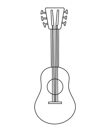 Vector black and white guitar icon isolated on white background. Outline string acoustic musical instrument. Illustration
