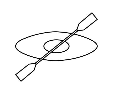 Vector black and white boat icon. Line art kayak with paddle isolated on white background. Outline rafting equipment picture. Illustration