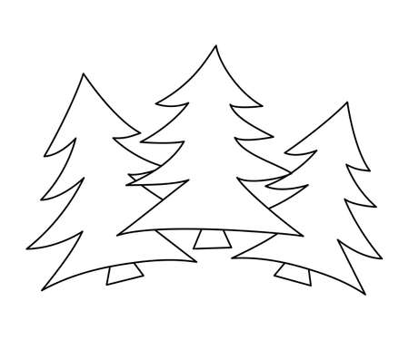 Vector black and white fir tree set. Woodland or forest evergreen plant outline illustration. Christmas tree line art line icon. Illustration