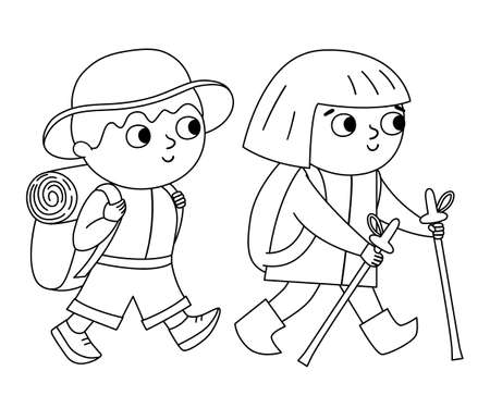 Vector black and white cute boy and girl with backpack. Hiking travelers isolated on white background. Outline tourists icon. Cute line kids doing summer camp activity. Funny hiker illustration Illustration
