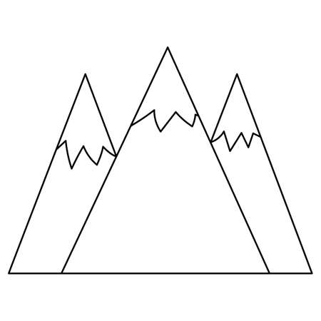 Vector black and white mountains with ice peaks illustration. Rocks line icon isolated on white background. Outline nature scenery picture