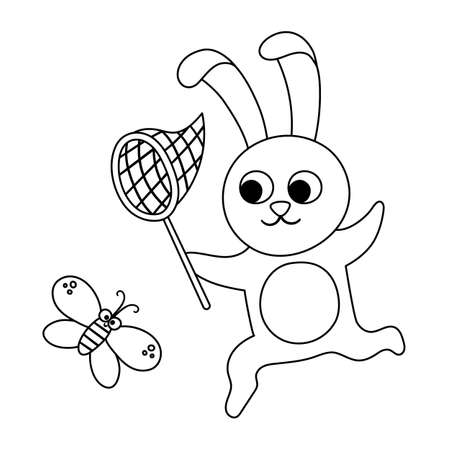 Vector black and white hare catching a butterfly with a net. Funny woodland animal. Cute forest outline illustration for kids isolated on white background. Playful rabbit line icon