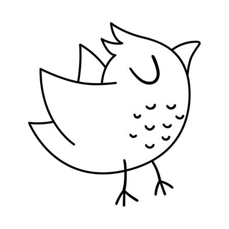 Vector black and white flying bird. Funny woodland animal line icon. Cute forest outline illustration for kids isolated on white background.