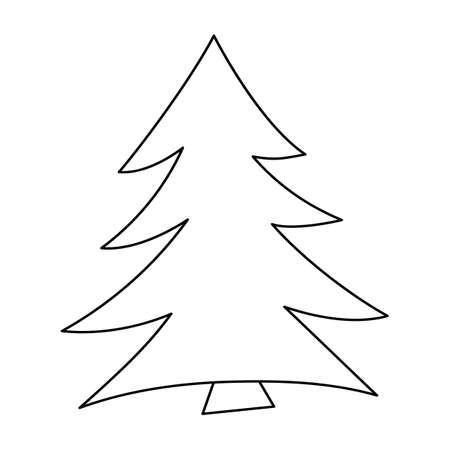 Vector black and white fir tree. Woodland or forest evergreen plant outline illustration. Christmas tree line art icon.