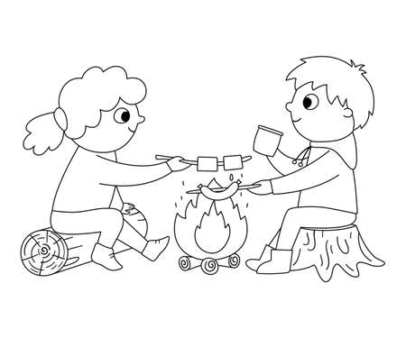 Vector black and white boy and girl sitting by the fire and frying sausage and marshmallow. Campfire outline activity scene with kids. Summer camp travelers isolated on white background. Illustration
