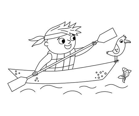 Vector black and white kayaking boy. Campfire line rafting scene with cute kid in a boat with paddle and seagull. Outdoor water activity or summer camp tourist or traveler outline icon. Illustration
