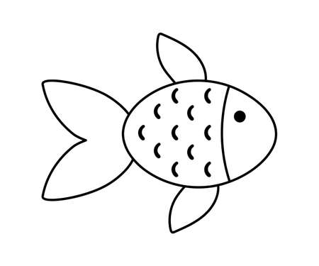 Vector black and white goldfish. Funny fish outline icon. Cute sea or ocean animal line illustration for kids isolated on white background.