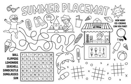Vector summer place mat for kids. Beach holidays printable activity mat with word search, toe charts, maze. Black and white play mat or coloring page with cute children, ice-cream, sandcastle.