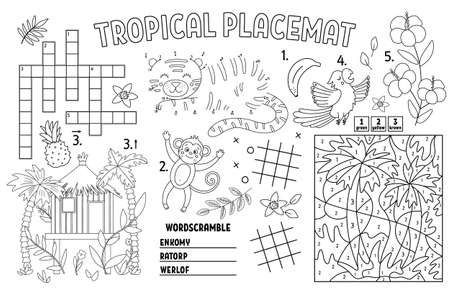 Vector tropical place mat for kids. Exotic summer printable activity mat with crossword, dot-to-dot, maze, color by number. Black and white play mat or coloring page with cute jungle animals, birds.
