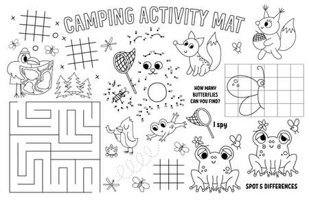 Vector camping placemat for kids. Summer camp holidays printable activity mat with maze, tic tac toe charts, connect the dots, find difference. Black and white play mat or coloring page with animals