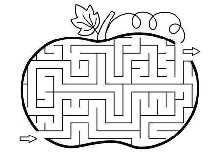 Thanksgiving black and white maze for children. Autumn or Halloween holiday line printable activity. Fall geometric outline labyrinth game or puzzle shaped like pumpkin. Harvest themed page for kids