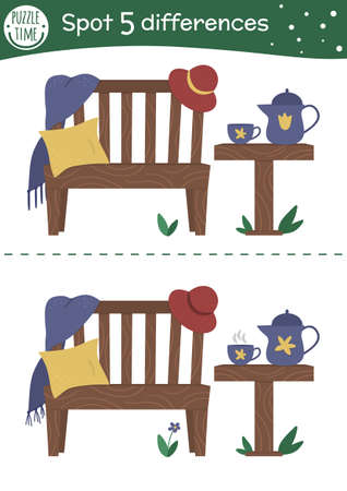 Spring find differences game for children. Garden preschool activity with cozy bench, tea table, cup, pillow. Attention skills puzzle with cute place for rest. Vektorgrafik