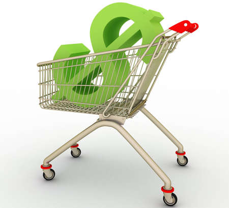 pushcart:  The cart from supermarket with sign dollar inside