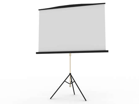 Blank portable projector screen isolated on white photo