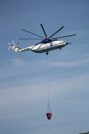 extinguishing: Russia, Gelendzhik, Gidroaviasalon - 2012, Heavy helicopter Mi-26T with polyethylene drum for the extinguishing of fires