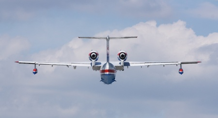 hydroplane: Gelendzhik, Russia - September 9  Seaplane Be-200ES of EMERCOM Russia view from back Editorial