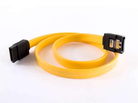 sata: Yellow computer sata cable for connect drive Stock Photo