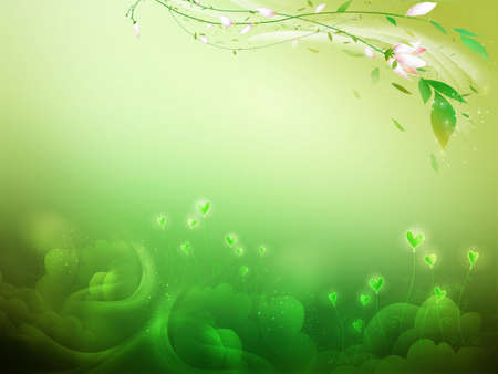 Green hearts background whis leaves and flowers photo