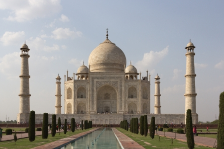 monument in india: Taj mahal , A famous historical monument, A monument of love, the Greatest White marble tomb in India, Agra, Uttar Pradesh Stock Photo