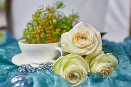 fabric surface: a bouquet of roses on a fabric surface Stock Photo