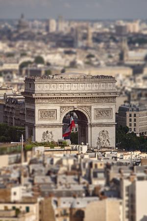 tilt views: July 2010, Paris, France. View of a triumphal arch with a birds-eye view. Tilt-Shift effect