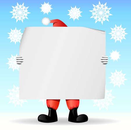 Santa Claus houden een groot vel papier waarop u een tekst schrijven kunt