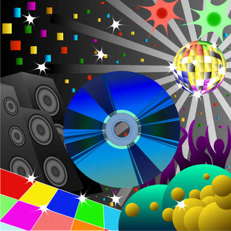 CD-ROM image on the background of a disco in a nightclub Vector
