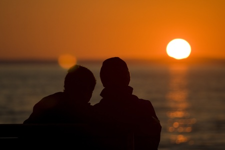 starigrad: Couple at sunset Stock Photo