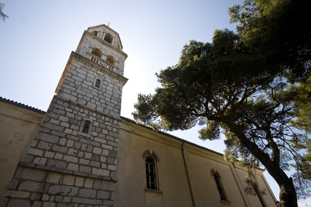 na: Church and the pine tree in the Biograd na moru Stock Photo