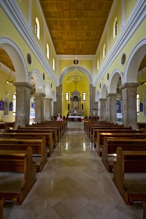 pews: Neo-Romantic parish church of Our Lady of Rosary in Drnis, interior Editorial