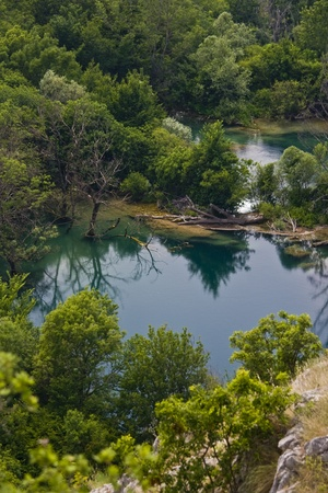 capping: Blue waters of the river Krka  Stock Photo