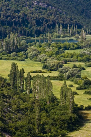 the fruitful: Fruitful valley of the Krka river  Stock Photo