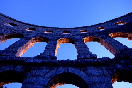 Roman amphitheatre in Pula, called Arena. The Arena is the only remaining Roman amphitheatre to have four side towers and with all three Roman architectural orders entirely preserved. It was constructed in 27 BC - 68 AD and is among the six largest surviv photo