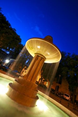 fount: Illuminated fountain on Dante`s square in Pula centre