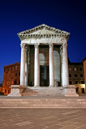 augustus: Temple of Augustus in Pula, Istria, well-preserved Roman temple, dedicated to the first Roman emperor Augustus.