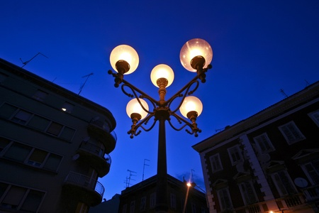 lamp made of stone: Street lamp balls on the street in Pula, in Istria.
