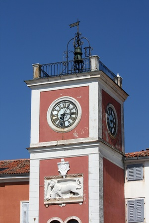 bass relief: The clock tower in Rovinj with the Venetian lion on it.