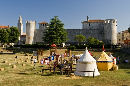 joust: Tournament in the stone castle Grimani is the best preserved castle on the peninsula of Istria and built in the 16th century.