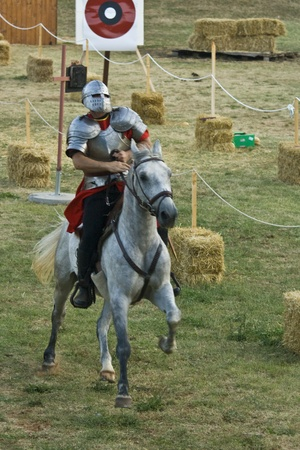 joust: Knight in the shining armour in medival tournament in Svetvincenat Editorial
