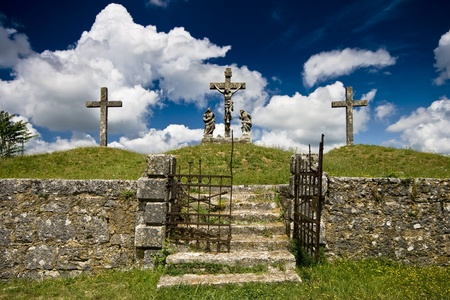 iron cross: The calvary presenting the crusifiction of Jesus Christ in Zminj