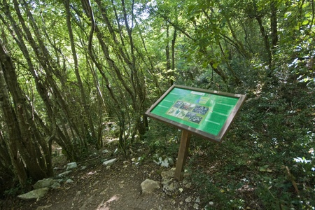 Info table leading to Romualdo`s cave