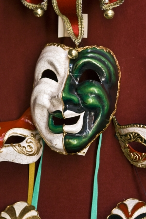 Green and white Venetian mask photo