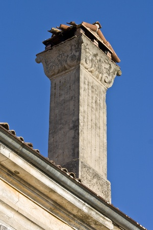 ornamented: Old ornamented chimney in Tar